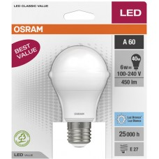LAMP OSRAM LED BULBO BCA  6W 450LM 1X1UN 40W