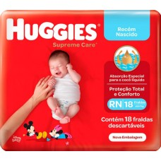 FRALD HUGGIES RN SUPREME CARE RN 1X18UN RN