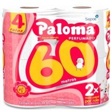 PAPEL HIGIENICO FOLHA SIMPLES PALOMA 60M PERFUMADO 16X4UNX60M