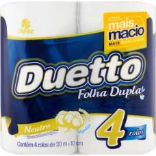 PAPEL HIGIENICO FOLHA DUPLA DUETTO NEUTRO 16X4UNX30M