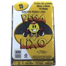 SACO LIXO PEGA LIXO 15L PRETO 25X20UN