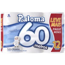 PAPEL HIGIENICO FOLHA SIMPLES PALOMA 60M NEUTRO 6X12UNX60M