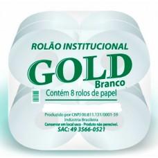 PAPEL HIGIENICO FOLHA SIMPLES GOLD ROLAO INSTITUCIONAL 300M BRANCO 8X1UN 300M
