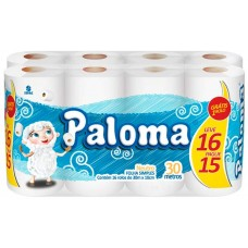 PAPEL HIGIENICO FOLHA SIMPLES PALOMA NEUTRO PROMO 4X16UNX30M