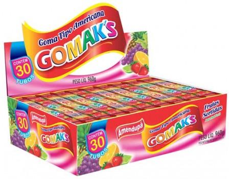 GOMA GOMAKS FRUTAS SORTIDA ROLO 30X32G CX