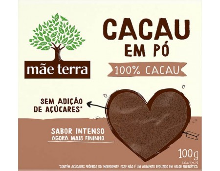 CHOCOLATE PO MAE TERRA 100% CACAU CAIXA 1X100G