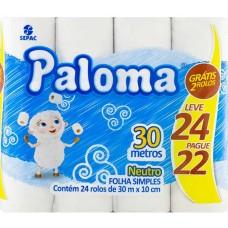 PAPEL HIGIENICO FOLHA SIMPLES PALOMA PROMO 4X24UNX30M