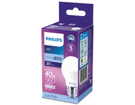 LAMPADA PHILIPS LED BULBO FRIA 6,0W 560LM 1X1UN 40W
