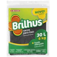 SACO LIXO BRILHUS REFORCADO 30L PRETO 1X10UN