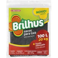 SACO LIXO BRILHUS REFORCADO 100L PRETO 1X5UN