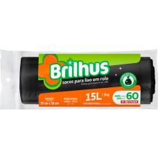 SACO LIXO BRILHUS 15L PRETO 1X60UN ROL