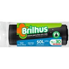 SACO LIXO BRILHUS 50L PRETO 1X30UN ROL