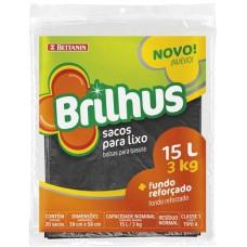 SACO LIXO BRILHUS REFORCADO 15L PRETO 1X20UN