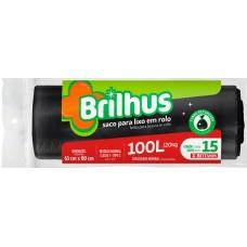 SACO LIXO BRILHUS 100L PRETO 1X15UN ROL