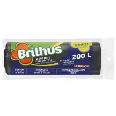 SACO LIXO BRILHUS 200L PRETO 1X15UN ROL