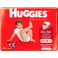 FRALDA HUGGIES JUMBO SUPREME CARE XXG 1X16UN XXG