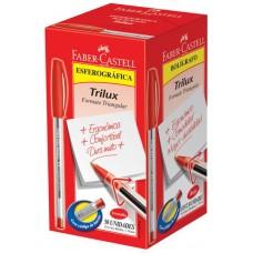 CANETA FABER CASTELL TRILUX MEDIA 1.0 VERMELHA 50X1UN