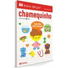PAPEL A4 CHAMEQUINHO 180 BRANCO 1X50FL