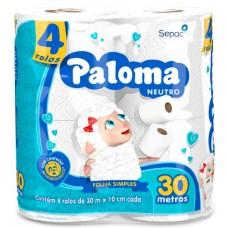 PAPEL HIGIENICO FOLHA SIMPLES PALOMA NEUTRO 16X4UNX30M