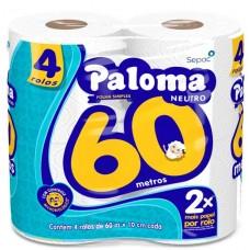 PAPEL HIGIENICO FOLHA SIMPLES PALOMA 60M NEUTRO 16X4UNX60M